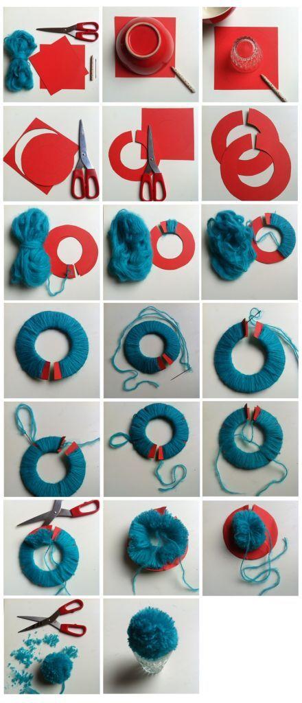 Fabriquer des pompons de diff rentes couleurs et de for Pompoms kinderzimmer