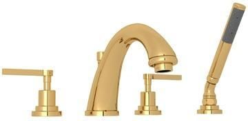 A1264LMIB Transitional Series Avanti Deck Mounted Bath Mixer with 6 GPM Flow Rate Fixed Spout and Metal Levers in Inca Brass