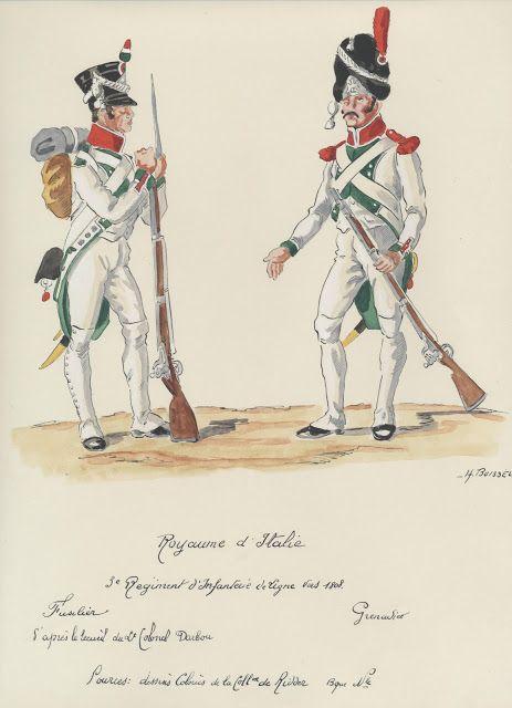 Fuciliere e granatiere del 3 rgt. di fanteria della linea