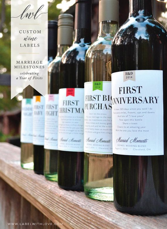 Wedding Gift Wine Labels or Bridal Shower Wine Basket of Firsts. Help the happy coulple celebrate their year of firsts!   by LabelWithLove