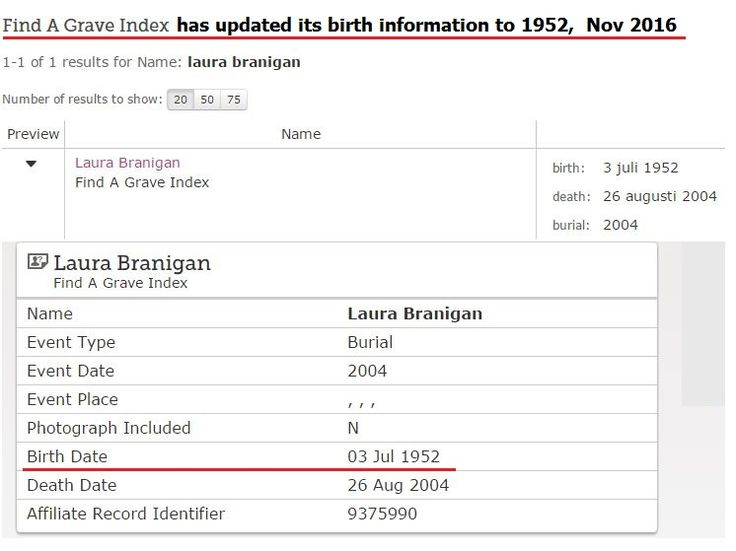 Updated! FamilySearch has updated Laura's birth year to 1952.