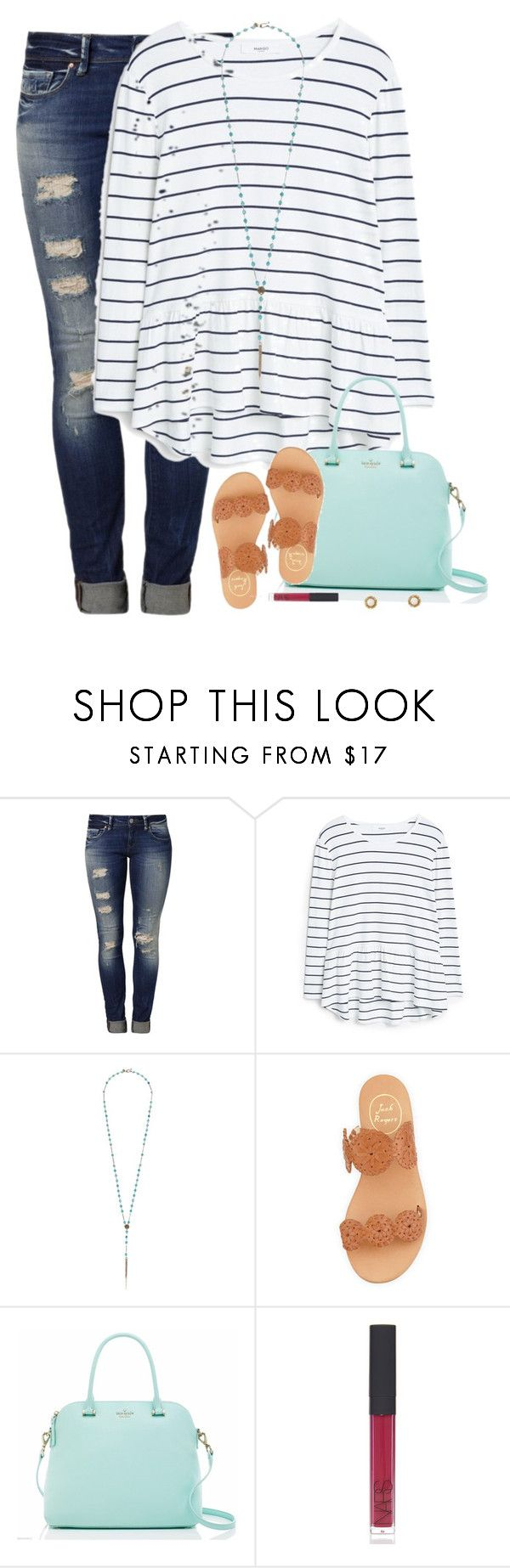 """""""I fell in love with you because of the million things you never knew you were doing."""" by kaley-ii ❤ liked on Polyvore featuring Mavi, MANGO, Chan Luu, Jack Rogers, Kate Spade, NARS Cosmetics and Kendra Scott"""