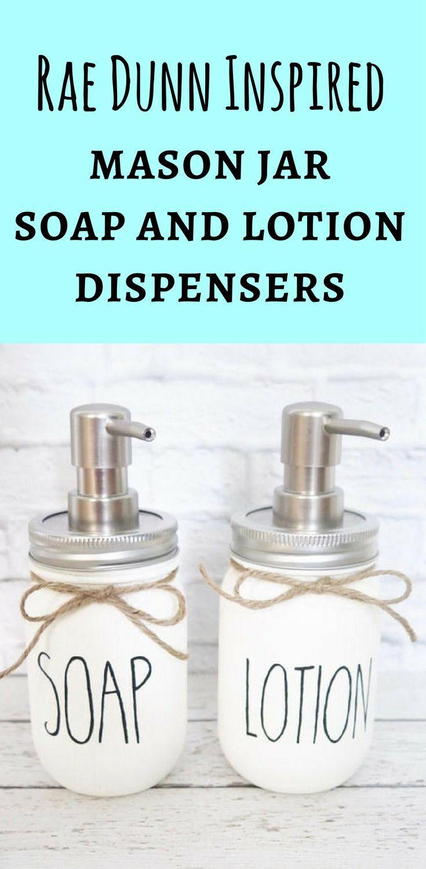 Cute Rae Dunn Inspired Mason Jar Soap & Lotion Dispensers for ...