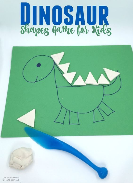 Creating dinosaur shapes with playdough is a fun math challenge for Preschoolers. Inspired by the book Goldilocks and the Three Dinosaurs by Mo Willems.