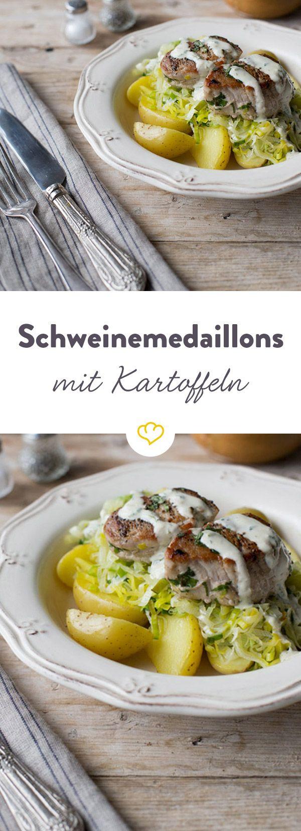 Zartes Schweinefleisch trifft rahmige Sauce und bettet sich auch Gemüse und feinen Salzkartoffeln - so lecker könnte dein Abendessen sein.