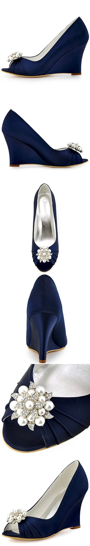 ElegantPark WP1549 Women Wedges Heel Pearls Clips Peep Toe Pumps Satin Wedding Evening Dress Shoes Navy Blue US 10