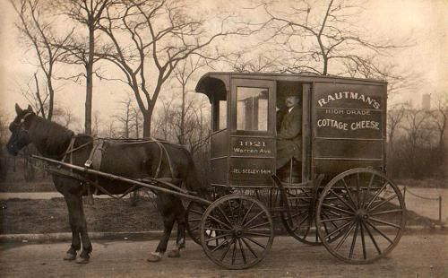 Rautman's Cottage Cheese Wagon, Seeley Lake, MT early 1900s