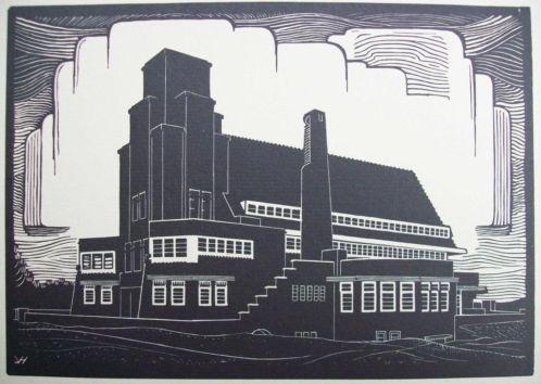 Houtsnede Johan van Hell 'Amsterdamse school'