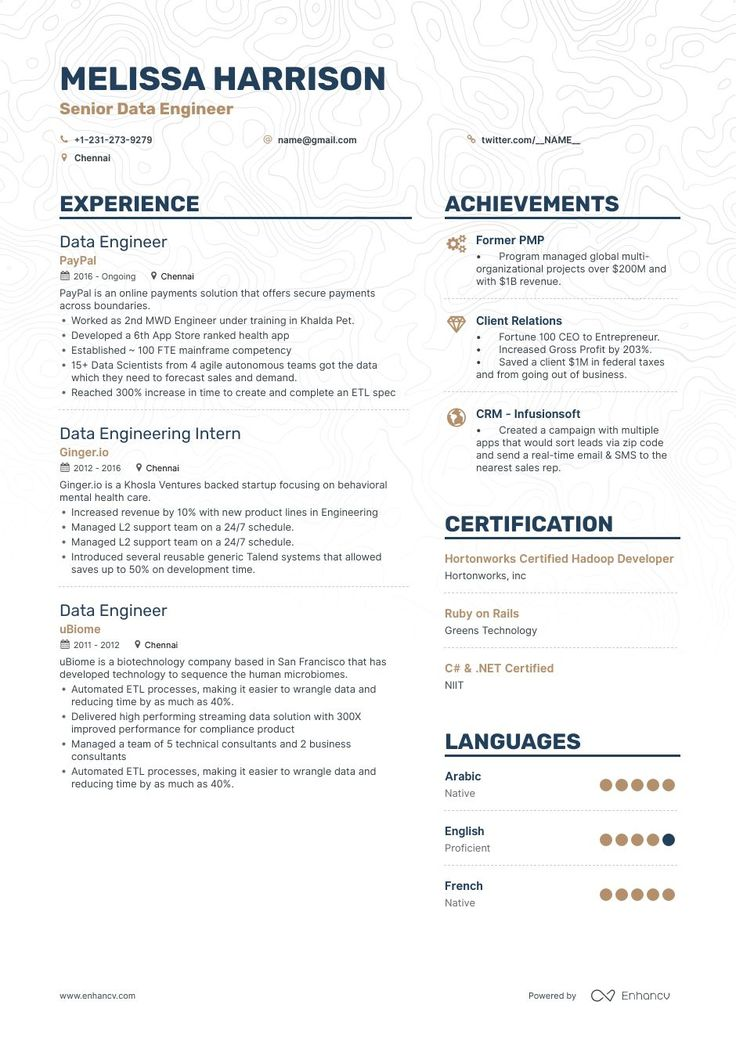 Download big data engineer resume example for 2020 with