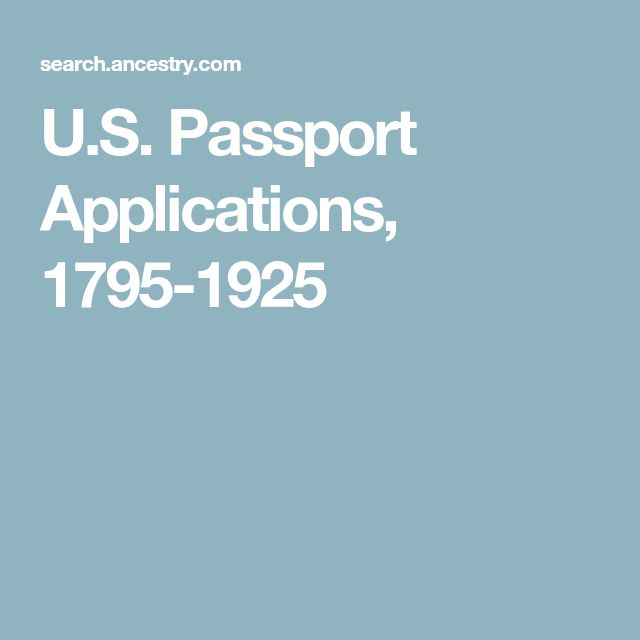 U.S. Passport Applications, 1795-1925
