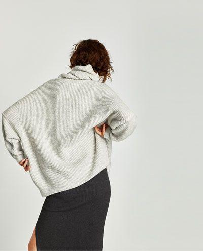 OVERSIZED ROLL NECK SWEATER-Sweaters-KNITWEAR-WOMAN   ZARA United States