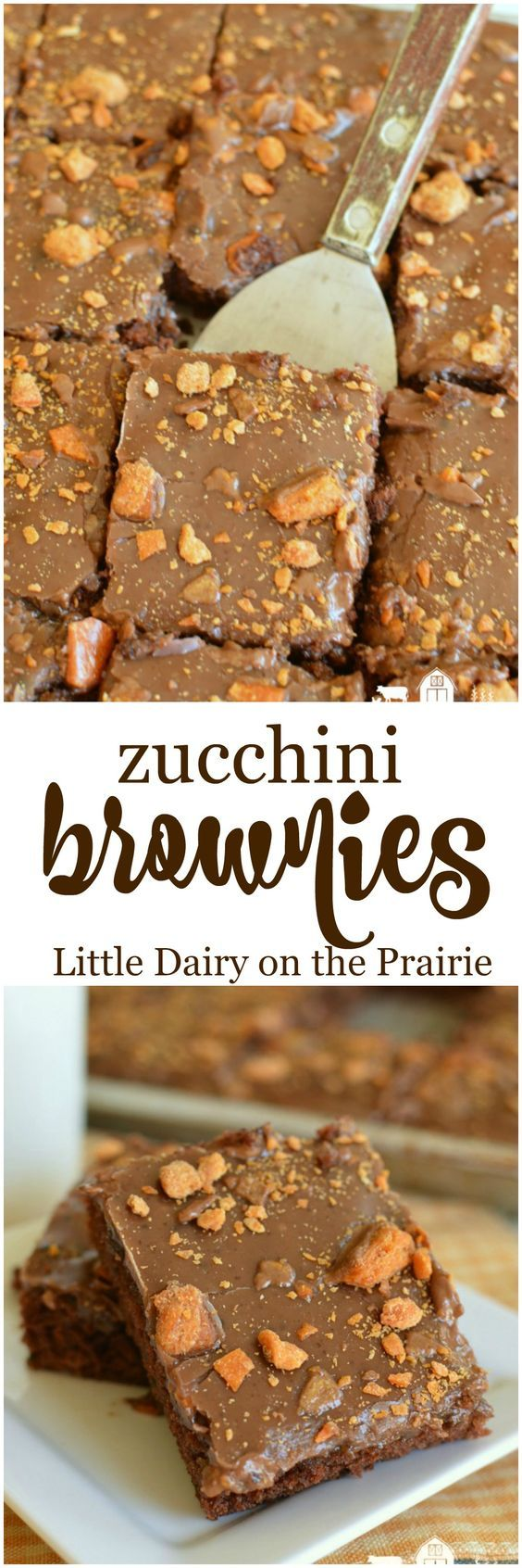 The best fudgy Zucchini Brownie, slathered in creamy chocolate icing, and sprinkled with crunchy Butterfingers! To die for!