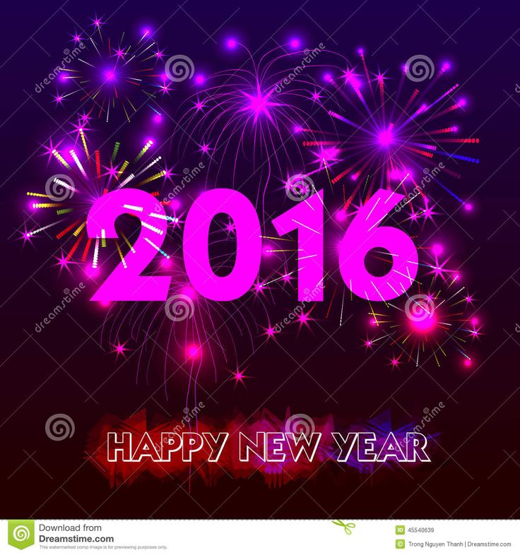 Happy New Year 2016 With Fireworks Background Stock Vector - Image ...