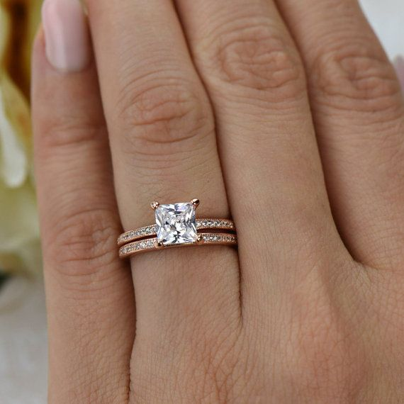 1.5 ctw Princess Cut, Eternity Wedding Set, Bridal Rings, Man Made Diamond Simulants, Engagement Ring, 14k Rose Gold Plated, Sterling Silver