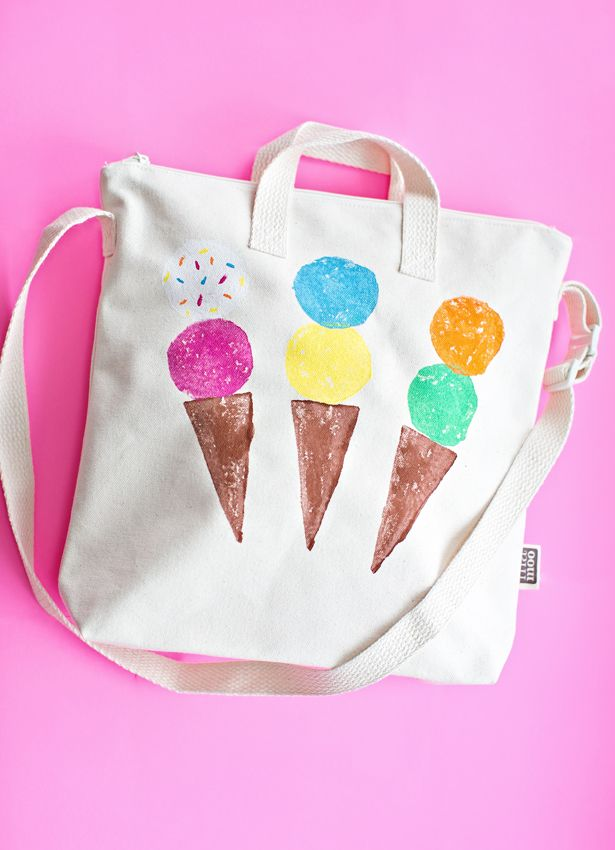 DIY Ice Cream Tote via Potato Stamping . Circles and Triangles and lines to create this summer tote.