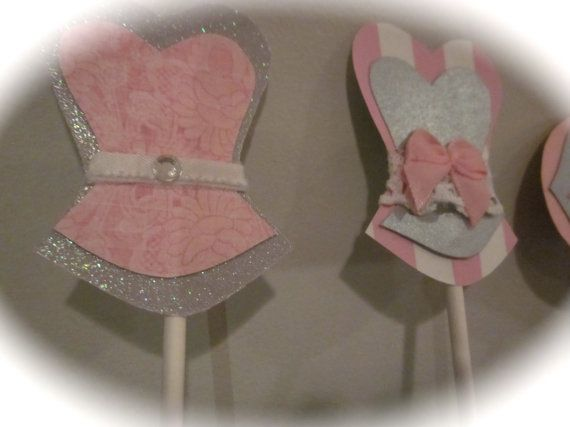Bachelorette party cupcake toppers corset lingerie heart lips and high heel MIX and MATCH set of 12 gray grey white light pink colors via Etsy