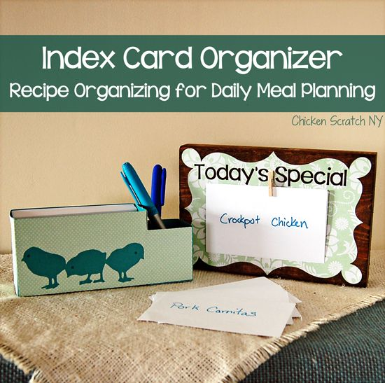 Index Card Organizer - Recipe organizing for daily meal planning