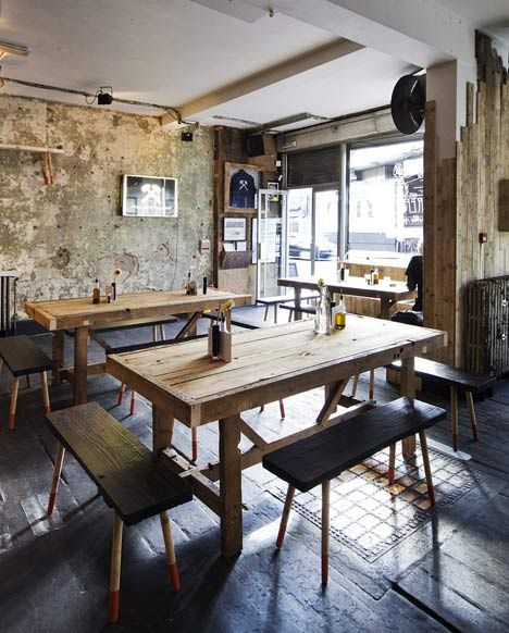 East London Furniture has temporarily fitted out the interior of London bar DreamBags JaguarShoes using nothing but scrap materials found on the local streets.