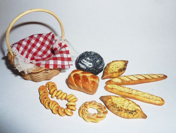 hand Made Beautiful basket with bread, 8 kinds of bread. beautiful realistic miniature size 1:12 It will be well packaged and sent by air Russian Post. If you have any questions please email me. Thank you. Thank you for your attention, good shopping) Thank you for viewing