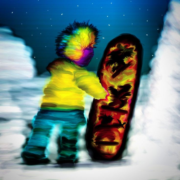 Man with snowboard and coloured hair