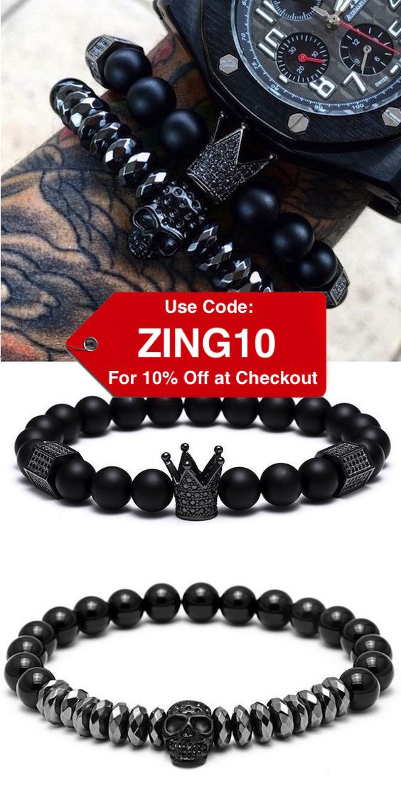 Use code ZING10 for additional 10% Discount. Skull King bracelets.