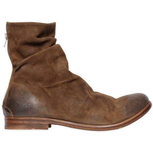 The Last Conspiracy Men Wrinkled Washed Leather Ankle Boots ($560) ❤ liked on Polyvore featuring men's fashion, men's shoes, men's boots, brown, mens leather sole boots, mens brown leather shoes, mens leather ankle boots, vintage mens ankle boots and mens brown boots