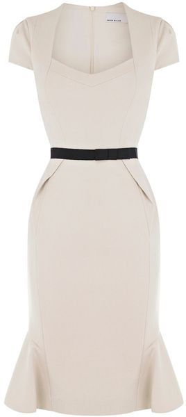 Perfectly Pin Up Cream Dress for a spring affair! :: Rockabilly Fashion:: Pin Up Style:: Pencil Dress:: Retro style                                                                                                                                                     More