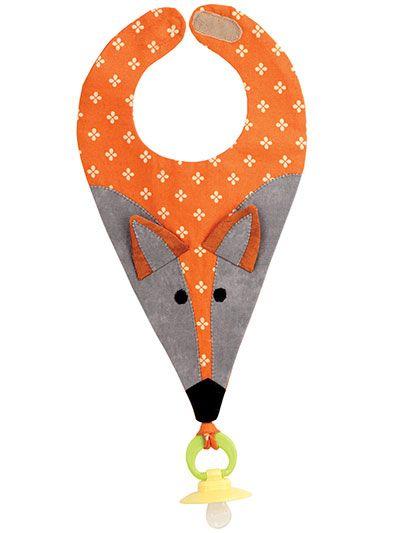 babero de zorro 30 cm largo 24 com ancho 4 cm lazo superior 8 cm apertura cuello adelgazar abajo a partir de 23 cm
