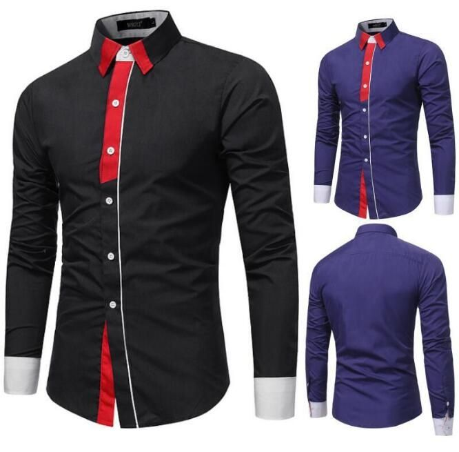 Designer Dress Shirts Clearance | Mens Long Contrast Sleeve Solid Casul Clearance Slim Fit Button