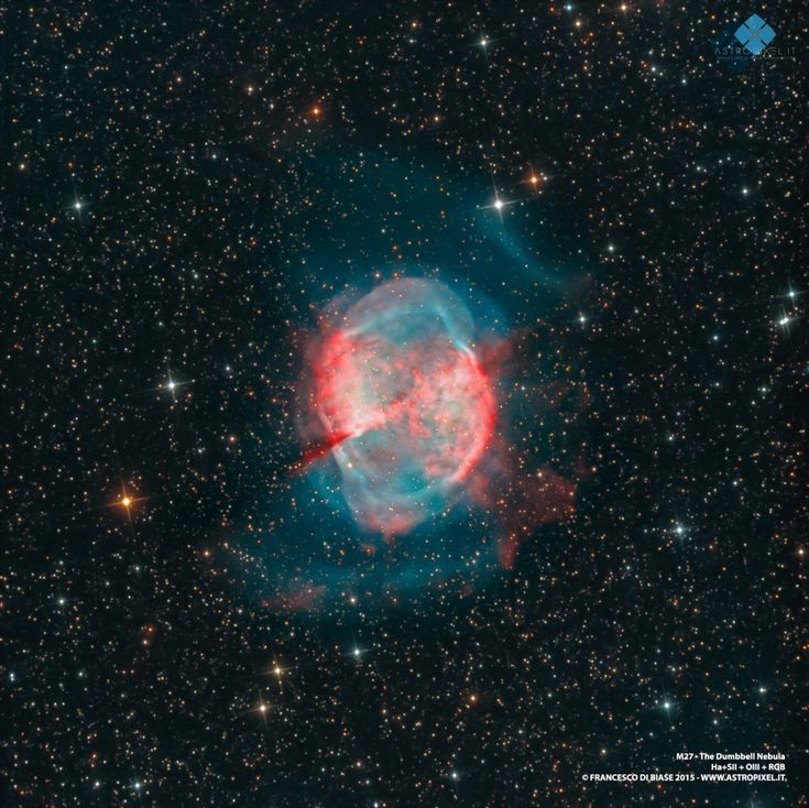 M27 - The Dumbbell Nebula is an excellent example of a gaseous emission nebula created as a sun-like star runs out of nuclear fuel in its core. The nebula forms as the star's outer layers are expelled into space, with a visible glow generated by atoms excited by the dying star's intense but invisible ultraviolet light. (credit: Astropixel.it | Francesco di Biase astrophotography)