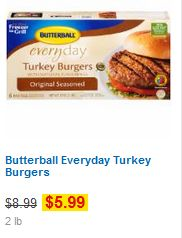 2lb Butterball Turkey Burgers for $3.49 at Kroger! (normally $8.99)