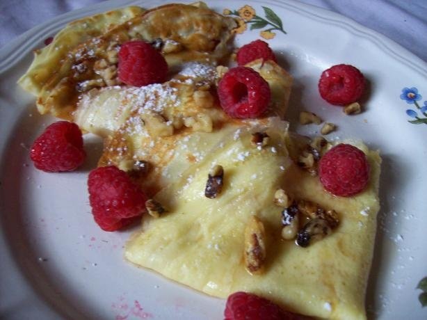 Hungarian Palacsinta (crepes). I'm used to having more plain ones...without all these extra doodads.