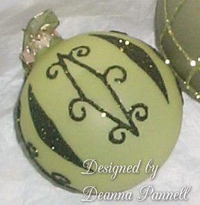 Glass etched, painted and glittered ornament made by Deanna Pannell.