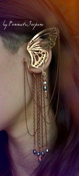 Butterfly cuff earring jewelry by Pennatu Serpens. http://pennatuserpens.livejournal.com #faerie