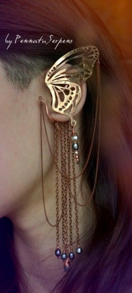 Butterfly cuff earring jewelry by Pennatu Serpens.  http://pennatuserpens.livejournal.com