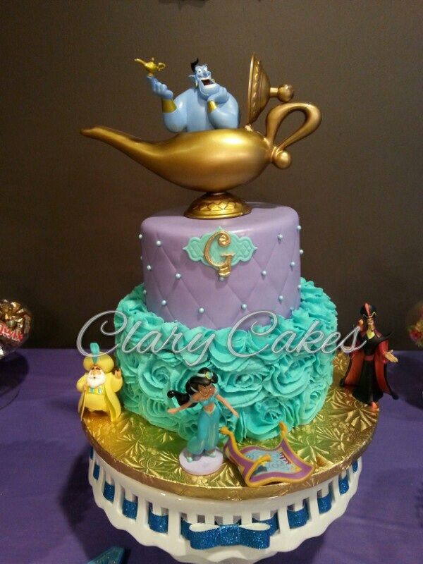 Princess Jasmine cake. Vanilla cake with vanilla buttercream rosettes and purple quilted fondant with edible pearls.