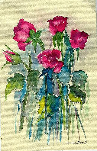 roses   watercolours painting suluboya çiçekler   gulbin   Flickr