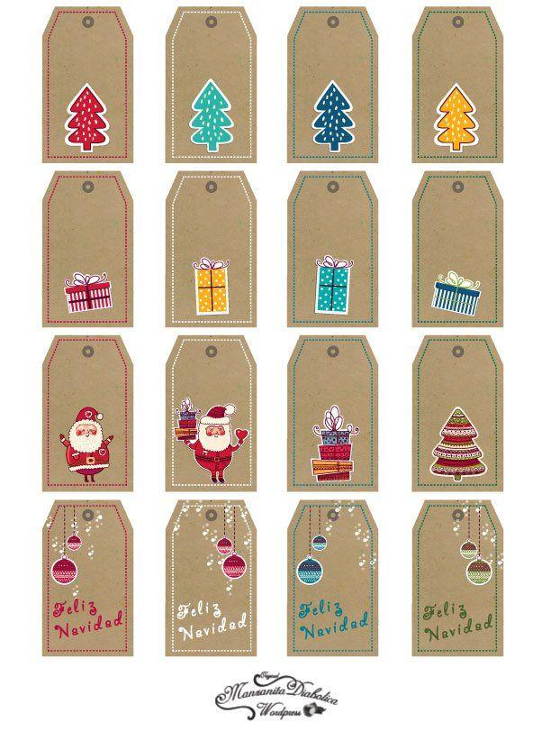 tarjetas de navidad imprimibles para los regalos