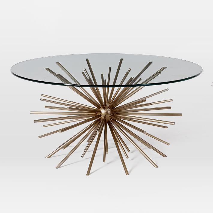 Starburst Coffee Table Blackened Brass Glass Brass Coffee Table