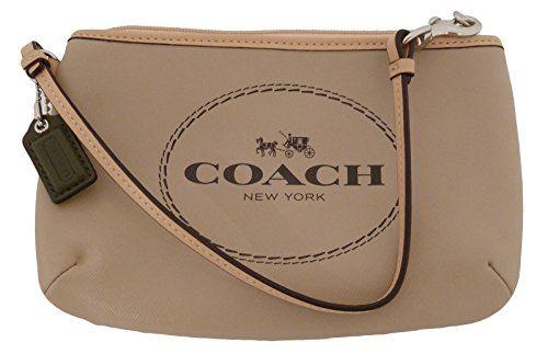 Women's Wristlet Handbags - Coach Horse  Carriage Light Khaki Saffiano Leather Medium Wristlet >>> Visit the image link more details.