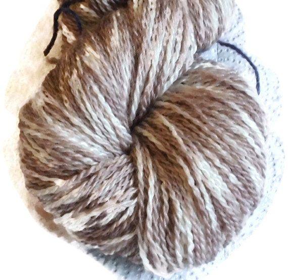 "Hand Dyed Bluefaced Leicester Wool Beige Sock Yarn, Kettle Dyed Beige Yarn 2-ply, Beige Sockyarn, Beige Fingering Yarn, ""Dessert""."