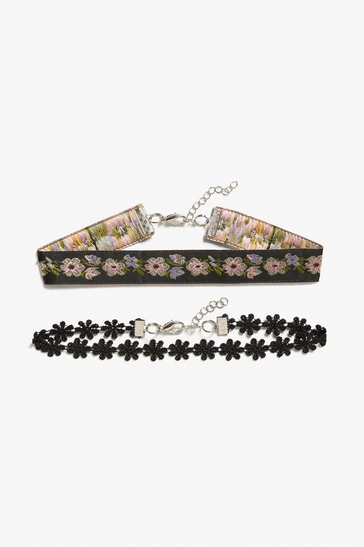 Monki Pack of 2 floral chokers in Black