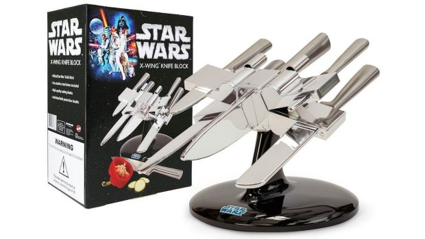 X-wing knife block from The Fowndry. From  '10 Ways To Star Wars Up Your Kitchen' on goodfood.com.au.