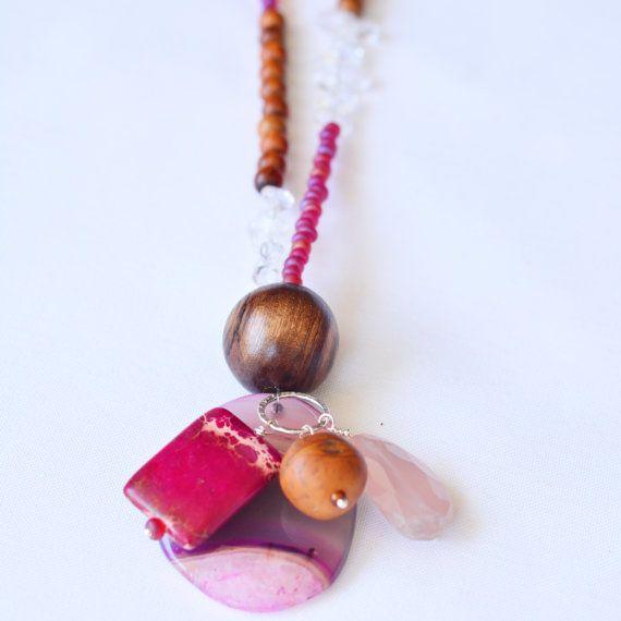 One Strand  Fuchsia Confetti Necklace  Handmade by skyepiece