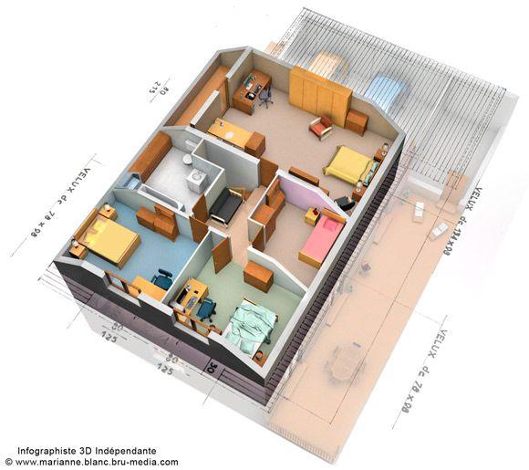 Plan De Maison Plain Pied Avec 1 Chambre Plan Maison Plain Pied Plan Maison 3d Plan Maison