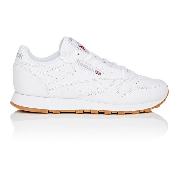 Reebok Women's Classic Leather Sneakers ($75) ❤ liked on Polyvore featuring shoes, sneakers, white, reebok trainers, lace up sneakers, leather shoes, lightweight sneakers and white lace up sneakers