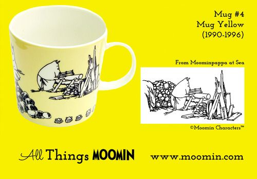 Moomin mug yellow #4 by Arabia Mug #4 - Yellow Produced: 1990-1996 Illustrated by Tove Jansson and Tove Slotte and manufactured by Arabia Th...