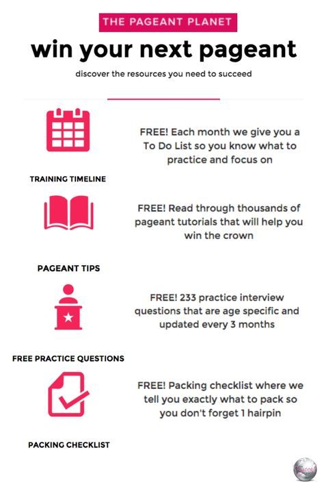 Discover FREE resources to help you win your next pageant! Download a training timeline so you know how to and what to practice; access thousands of pageant tips and articles; get 233 practice interview questions, and download the ultimate packing checklist!