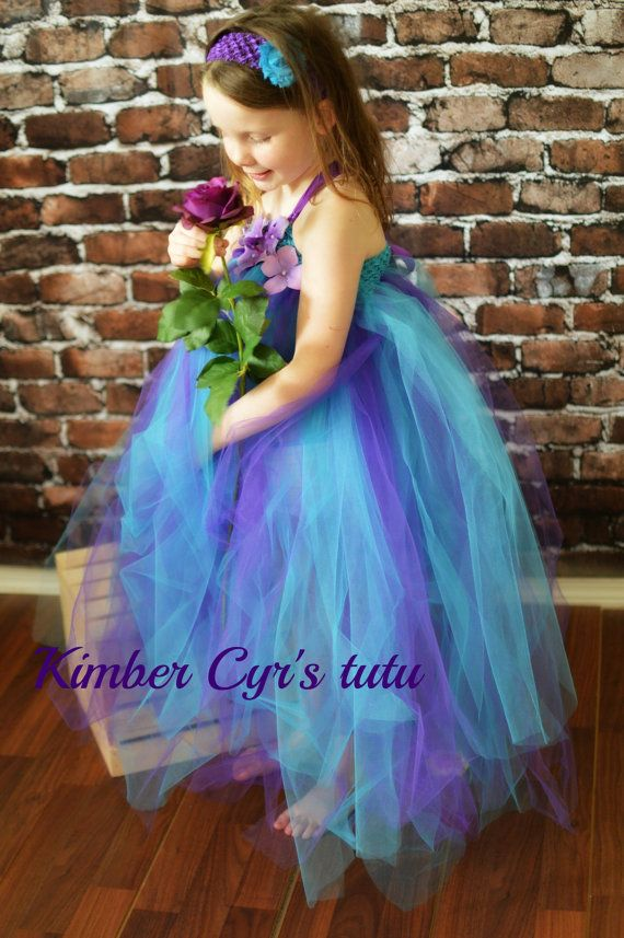 Turquoise and Purple Flower girl by kimbercyr on Etsy, $34.99
