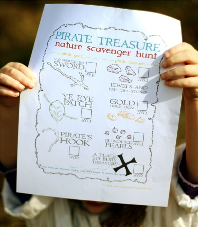 Pirate Treasure Printable....nature scavenger hunt adventure challenge ...